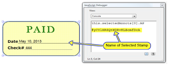 Dynamic stamp secrets using JavaScript and Acrobat XI