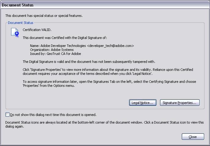 Digital signature in PDF and Acrobat 7