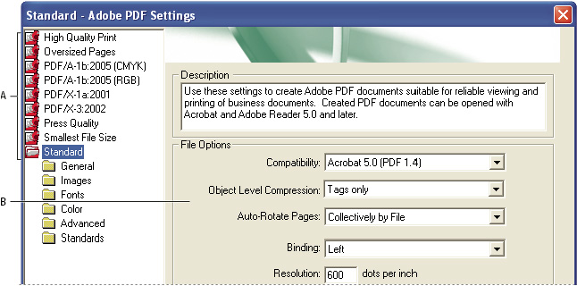 Adobe pdf settings dialog box (windows)