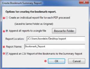 Create Bookmark Report