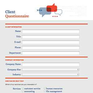 Formcentral template exchange client questionnaire for New customer questionnaire template