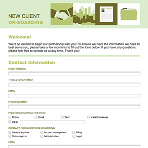 Employee onboarding questionnaire for New customer questionnaire template