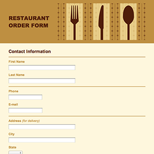 Restaurant Food Order Form Template.