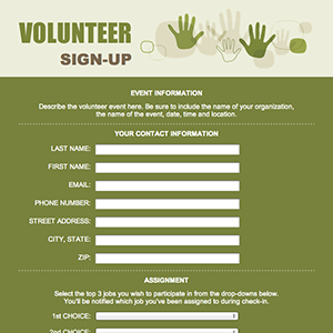 volunteer sign up form template