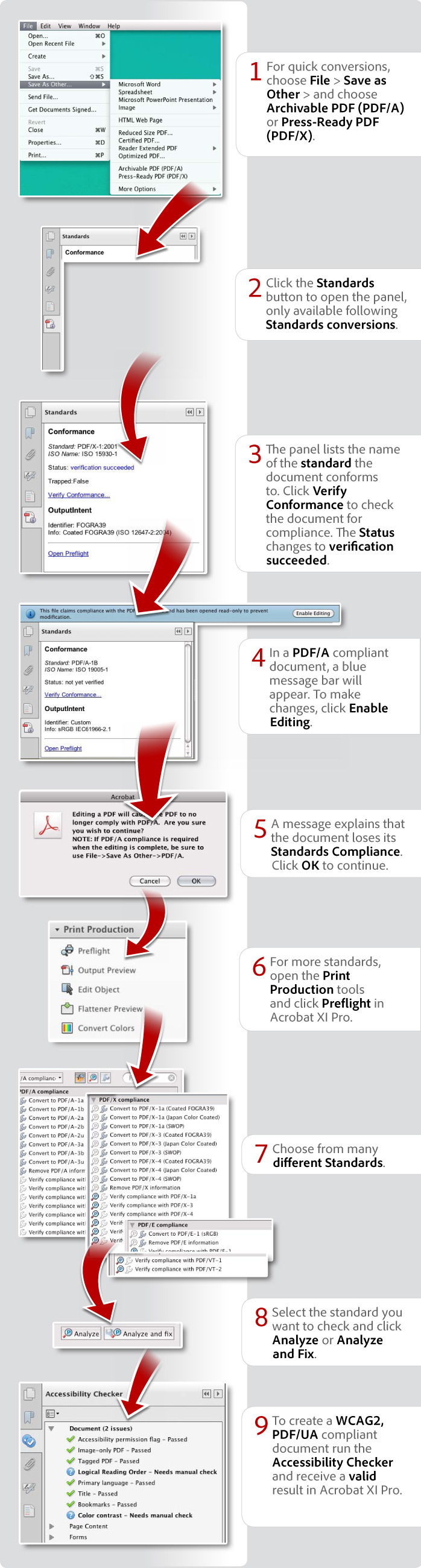 How to conform to PDF standards using Acrobat XI