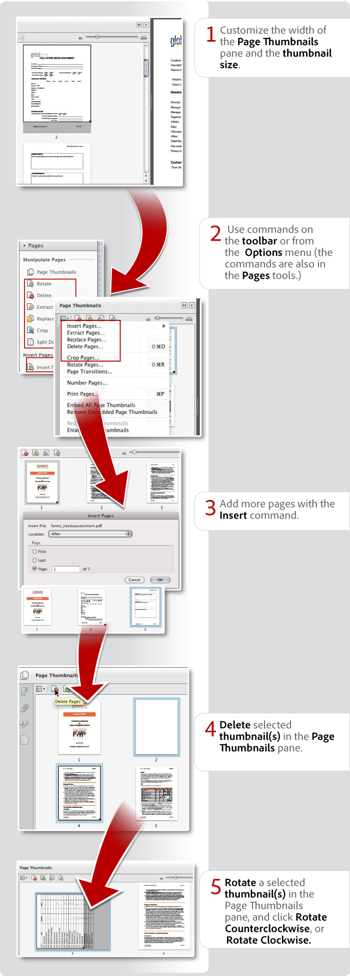 How to manipulate pages in Acrobat XI