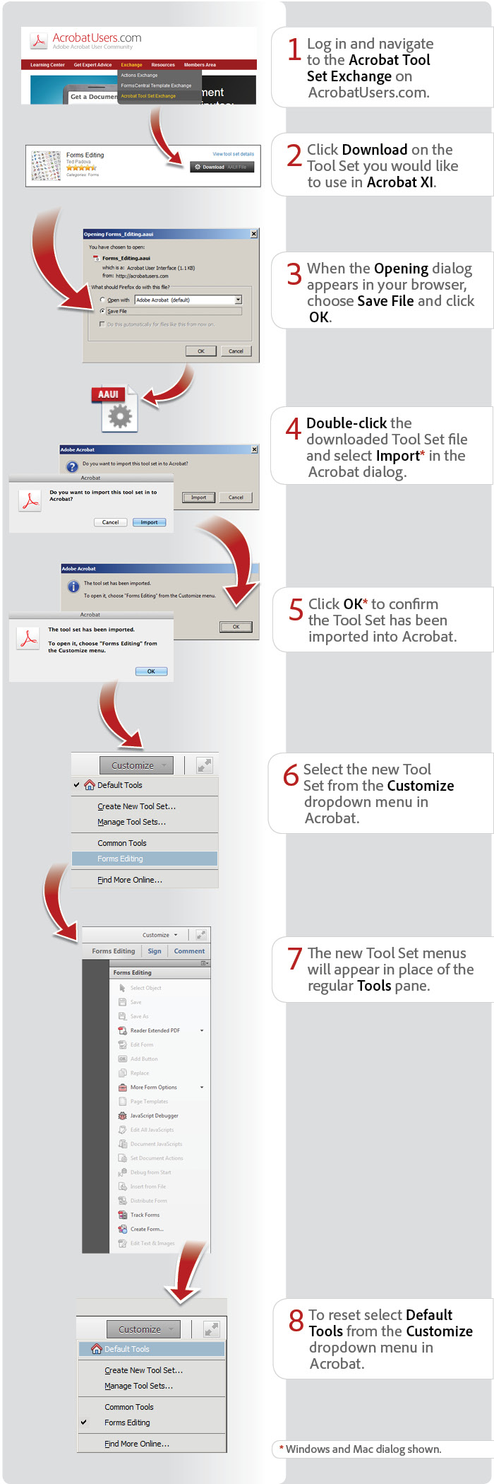 How to import a custom tool set using Acrobat XI Pro