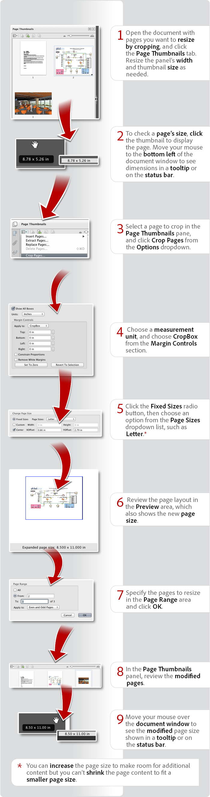 How to resize pages in a PDF file using Acrobat XI