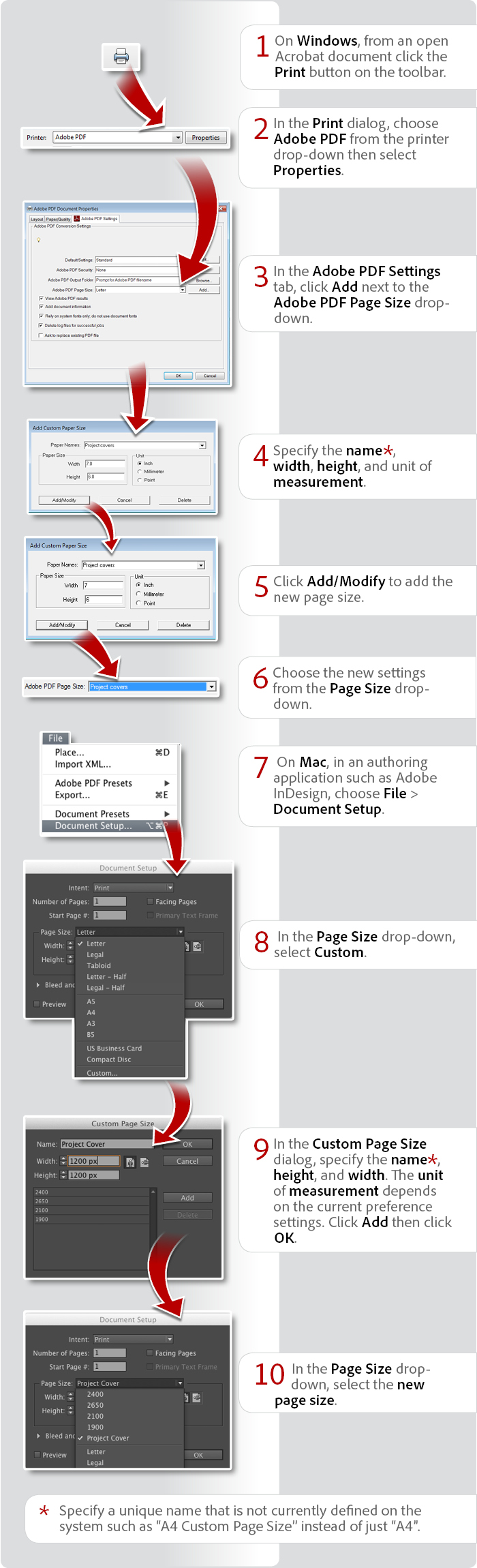 How to create a custom page size using Acrobat XI