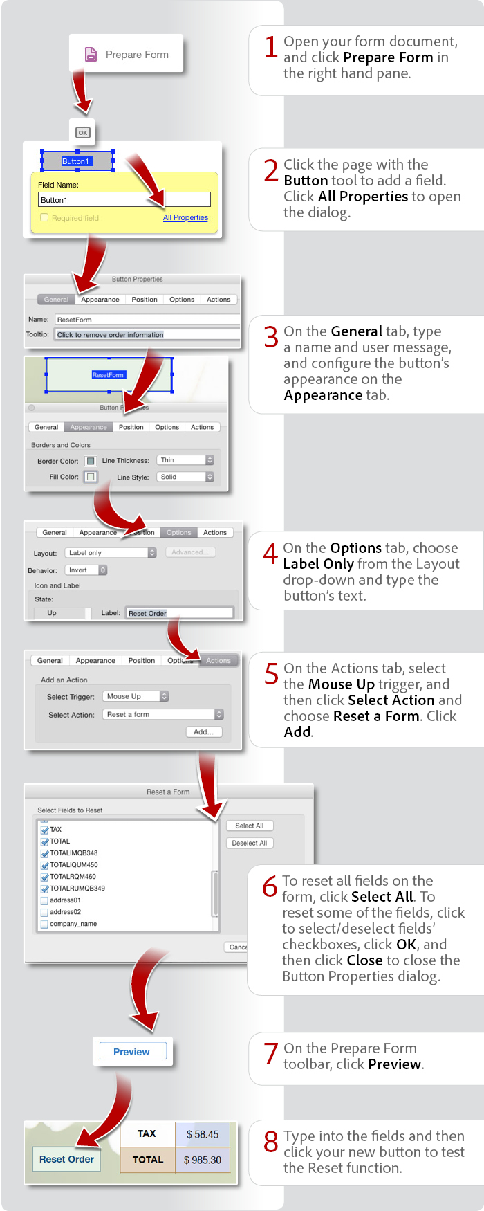 Add a reset button to a form using Acrobat DC
