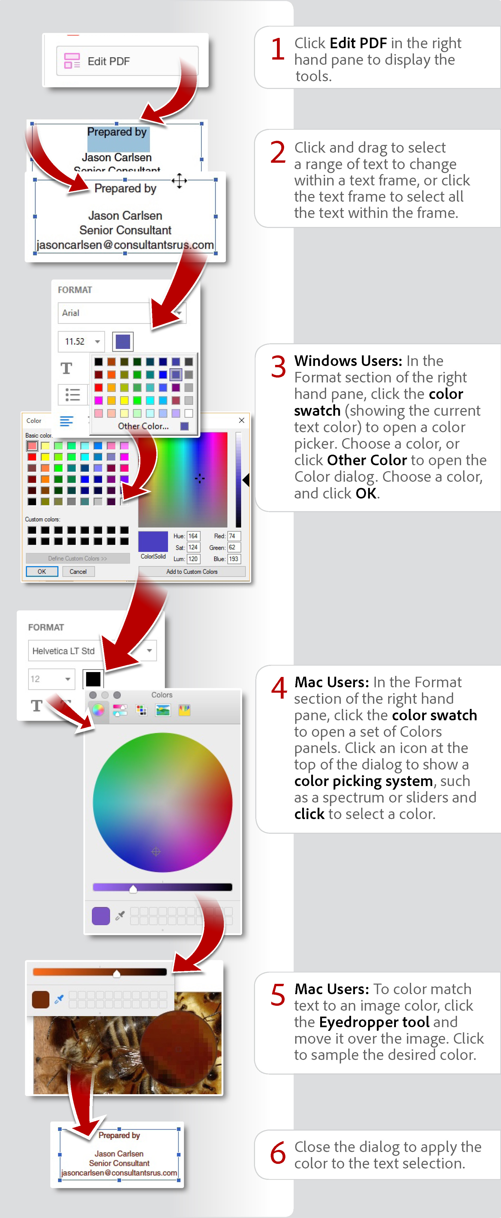 Change color for edited text using Acrobat DC