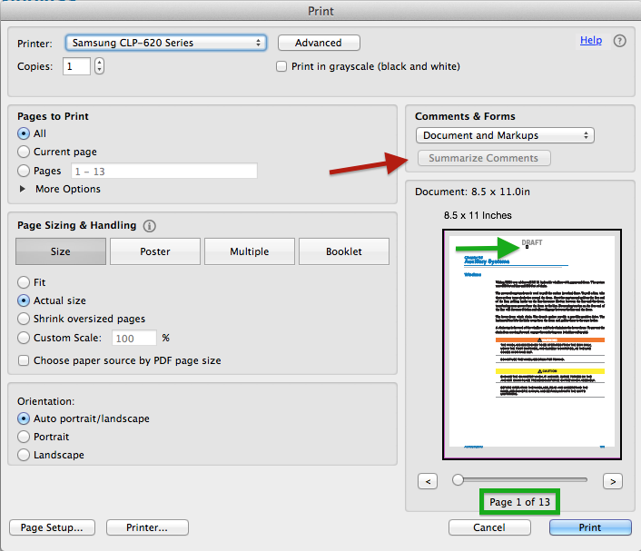 Figure 4 Acrobat Summarize Comments Print Dialog Box